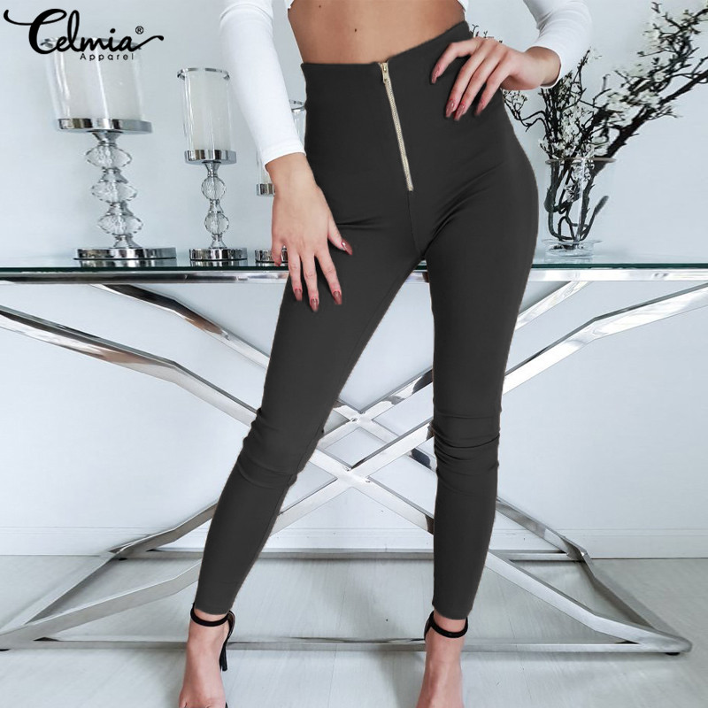 Celmia Women Sexy High Waist Pants Female Long Pencil Trousers Casual Zip Stretchy Pantalon Elastic Waist Skinny Pant Plus Size