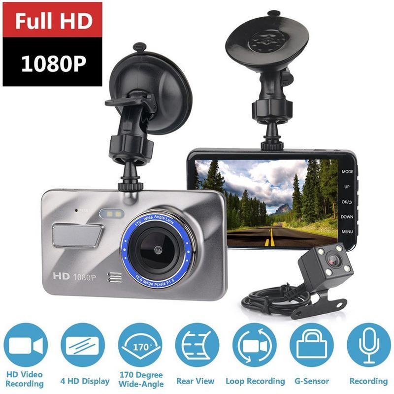 HD 4 Polegada Imagem Escondida 1080P Grande Angular Condução Gravador de Lente Dupla Traço Cam Dupla Lente Da Câmera DVR Carro apoio Invertendo