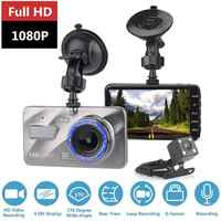 HD 4 pouces double lentille Image 1080P caché grand Angle conduite enregistreur Dash Cam double lentille voiture DVR caméra soutien inversion