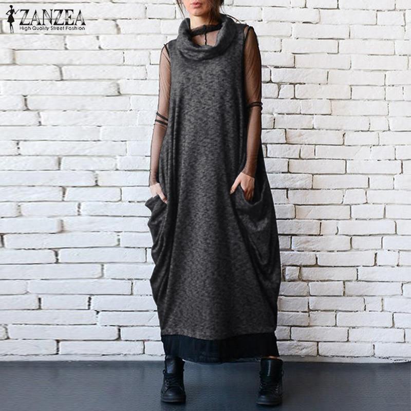 ZANZEA Turtleneck Maxi Dress Women's Sundress 2019 Summer Autumn Baggy Vestidos Female Sleeveless Party Dress Plus Size Robe 5XL