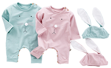 2pcs Easter Baby Boys Romper Girls Cute Bunny Long Sleeve Cotton Rompers With Rabbit Ear Cap Baby Costume Jumpsuits Roupas Bebes autumn baby fashion cute warm rompers cute rabbit ears design baby bunny hooded romper newborn boys and girls one pieces suits