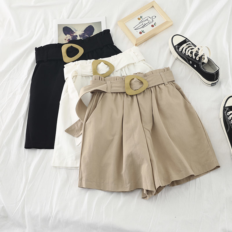 2019 Summer Women High Waist   Shorts   Khaki Color High Waist Bermuda   Shorts   With Belt Korean Fashion