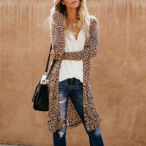 Hirigin Women Casual Leopard Spring Loose Blouse Cardigan Coat Thin Long  Outwear Tops jeans con blazer mujer