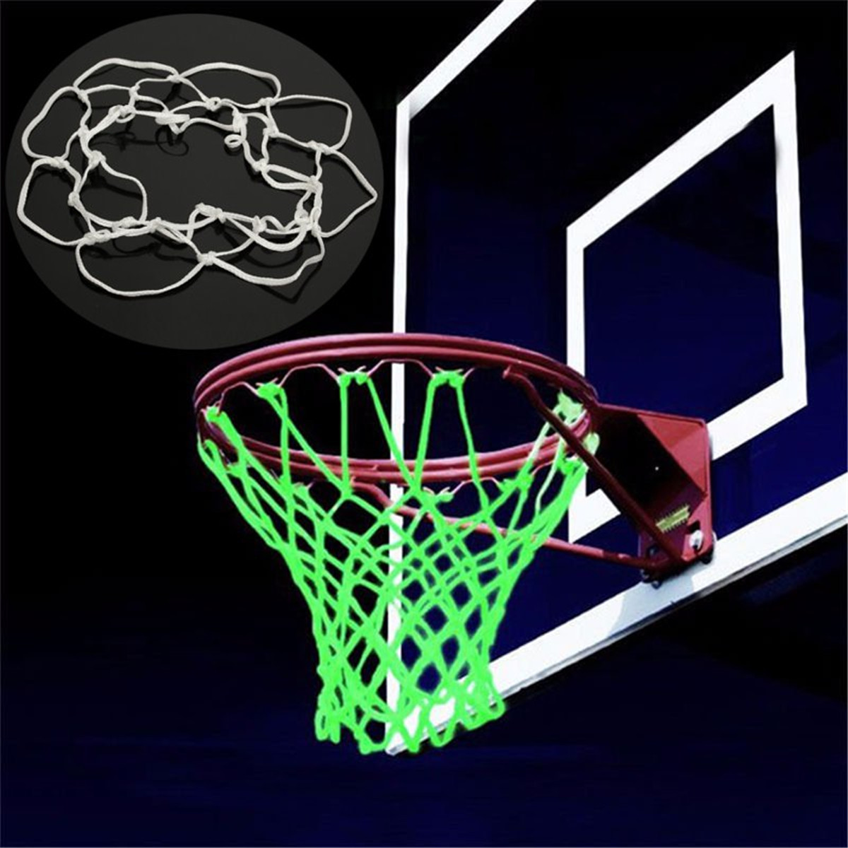 Glowing In The Dark Outdoor Sports Nylon Basketball Hoop Net Shoot Training For Kid Basketball Accessories White 20cm