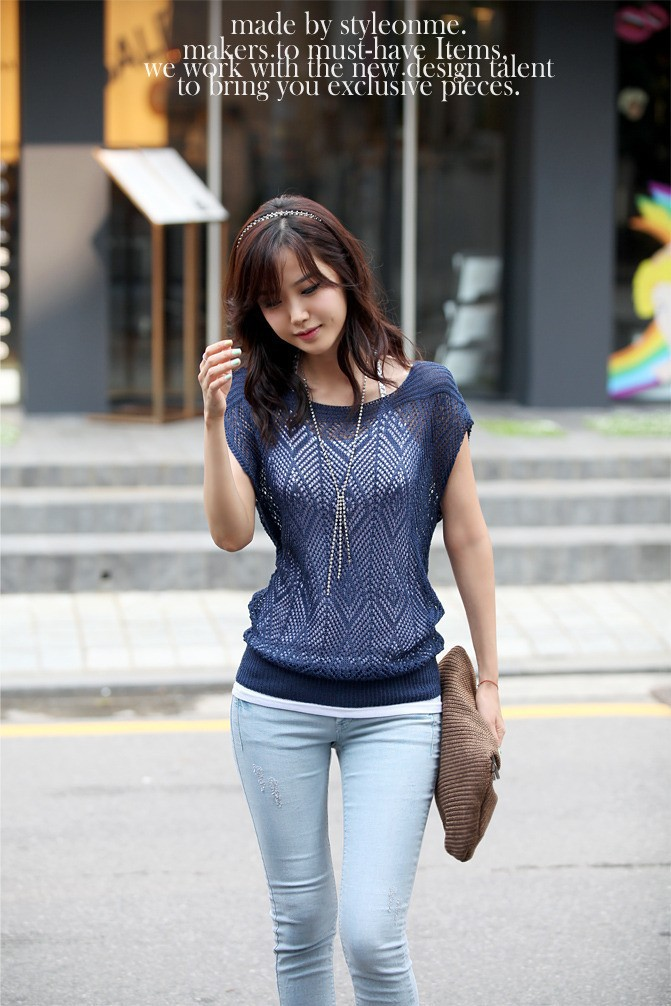 High quality summer thin knitted sweater women's sunscreen blouse short sleeve hollow out pullover ladies tops