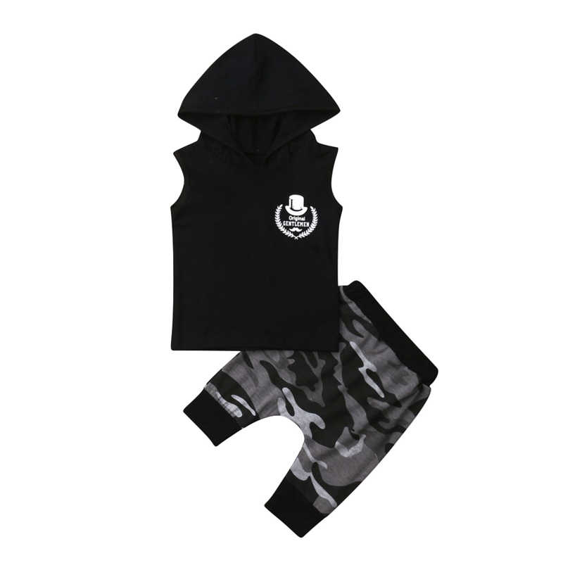 45e130bde47c4 Baby Boy Clothes Toddler Kids Boy Summer Clothes Hooded T-shirt Tops Harem  Pants Camouflage Short Sleeve Cloth Outfits 2PCS Set