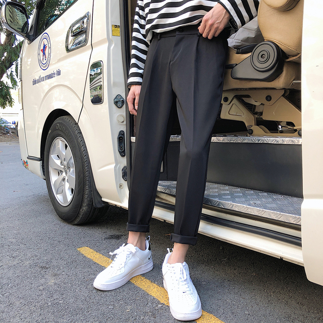 65f47b432d6 2019 Spring Summer Neutral Casual Men Cotton Original Leisure Pants Light  Joggers Custom Fit Plicated Loose Black Sweatpants