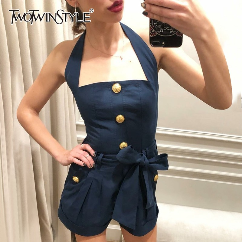 TWOTWINSTYLE Casual Off Shoulder Women   Jumpsuit   Halter Sleeveless High Waist Bandages Button Playsuits Female 2019 Fashion New
