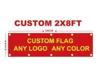Пользовательский флаг любой размер бренд логотип компании Спорт Открытый Баннер 2x8FT баннер 60X240 см настроить флаги латунные люверсы, беспла...