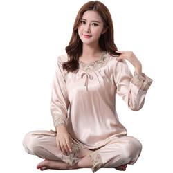 Большой Размеры 3xl Для женщин пижамы Цветочная отделка сексуальный рубашка + Штаны Chrming Домашняя одежда пижамы из искусственного шелка