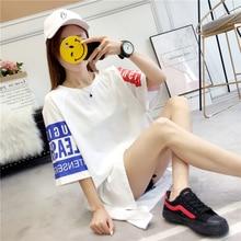 #4208 Summer Short Sleeve T Shirt Women Harajuku White/Red/Black Tee Femme Streetwear Loose Long T-shirt O neck