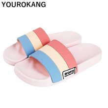 Women Slippers Summer Female Home Slippers Indoor Non-slip Bathroom Plastic Sandals Unisex Lovers Beach Shoes Striped Flip Flops цена 2017