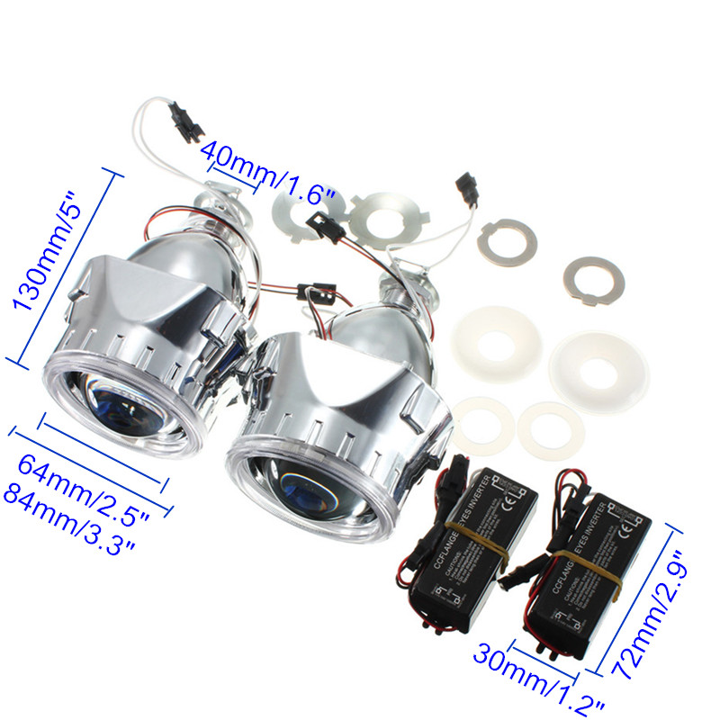 New 2Pcs 2.5 Inch Universal Bi xenon for HID Projector <font><b>Lens</b></font> Silver Black Shroud H1 Xenon <font><b>LED</b></font> Bulb H4 <font><b>H7</b></font> Motorcycle Car <font><b>Headlight</b></font> image
