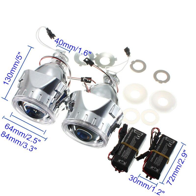 Nouveau 2 pièces 2.5 pouces universel Bi xénon pour HID projecteur lentille argent noir linceul H1 xenon LED ampoule H4 H7 moto voiture phare