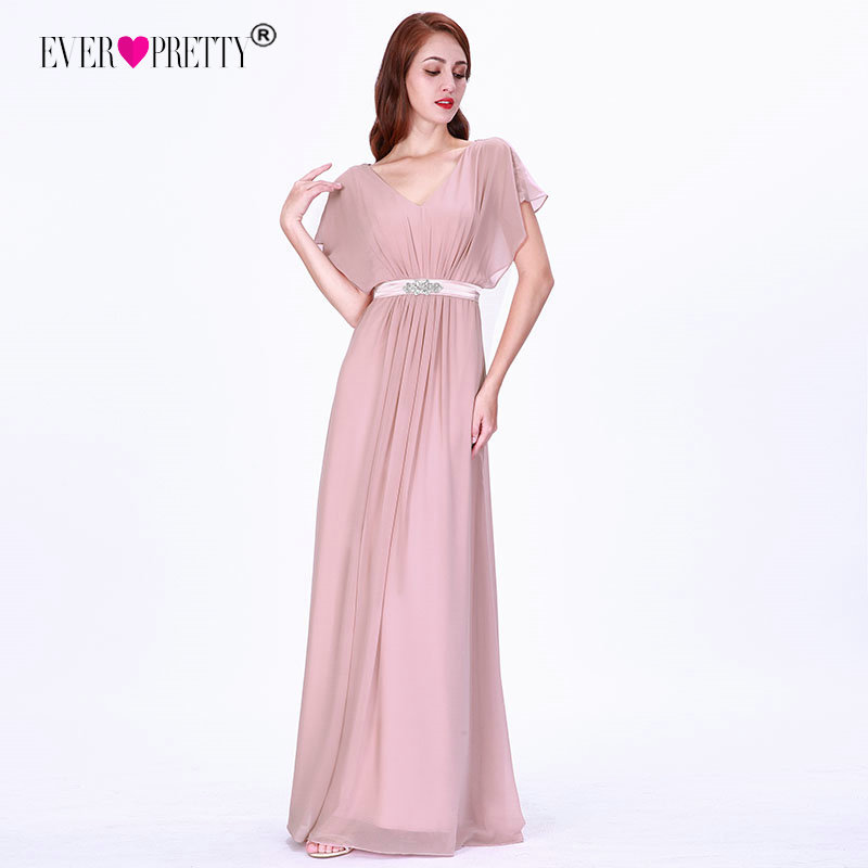 Pink   Bridesmaid     Dresses   Long Ever Pretty Elegant A-line Chiffon Short Sleeve V-neck Sash Beaded Wedding Gowns Summer Long Gowns