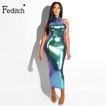 Feditch 2018 Halter Kleid Frauen Backless Sleeveless Sexy Kleid Frauen Maxi Lange  Kleid Damen Club Bodycon a5e576c66d