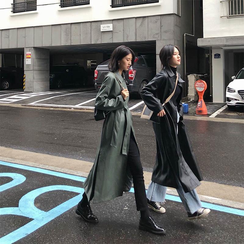 Pu Vêtements Printemps Femme Hd129 À Femmes Vestes Longues Automne Manteaux Coupe green Lâche Coupe Élégant Shengpalae Manches Black Nouveauté vent YIwvxqTA