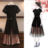 XL 5XL T shirt mesh dress Large size women Korean big size summer dress two piece set black long dress plus size clothing 2019