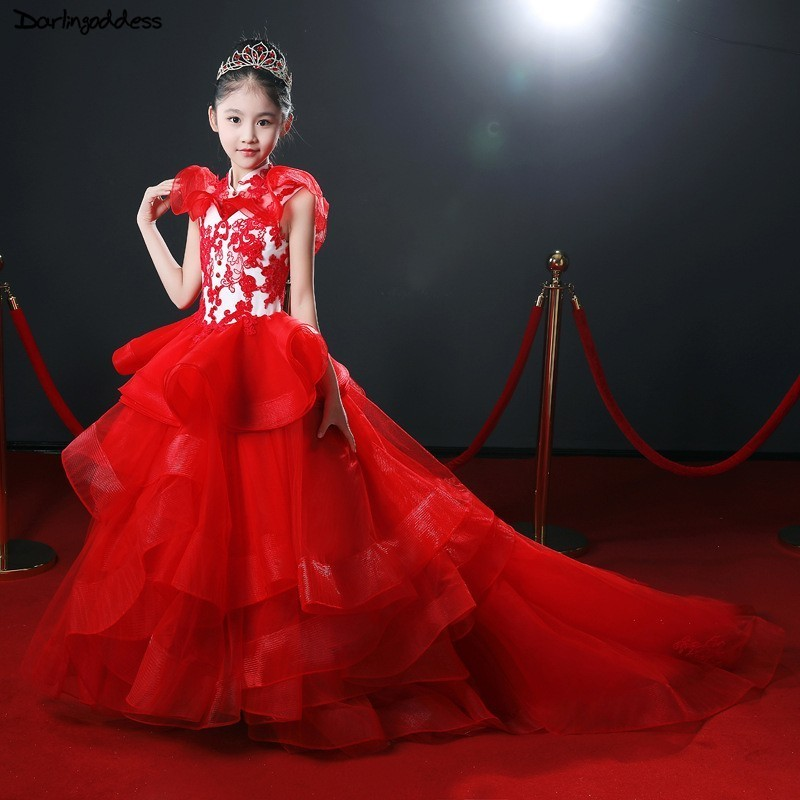 Vestido Daminha 2018 Red   Flower     Girl     Dresses   for Weddings Ball Gown Lace Appliques Little   Girls   Pageant   Dresses   with Court Train
