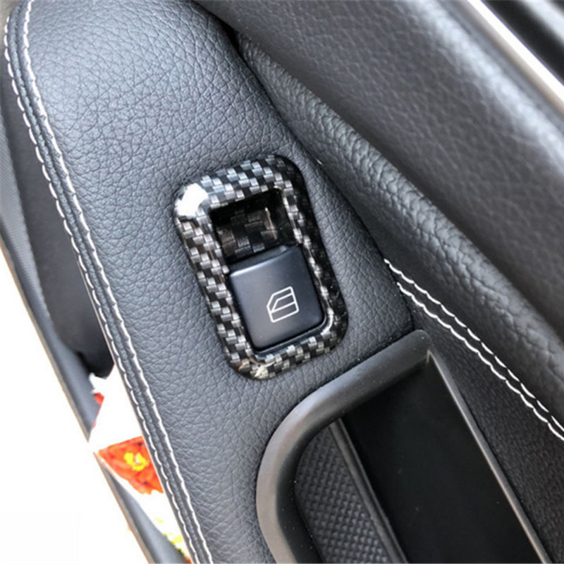 5pcs Window Switch Cover Interior Carbon Fiber Style For Mercedes Benz C117 W166 W176 W204 W212 W218 W246 W463 X156 X166 X204 in Interior Mouldings from Automobiles Motorcycles