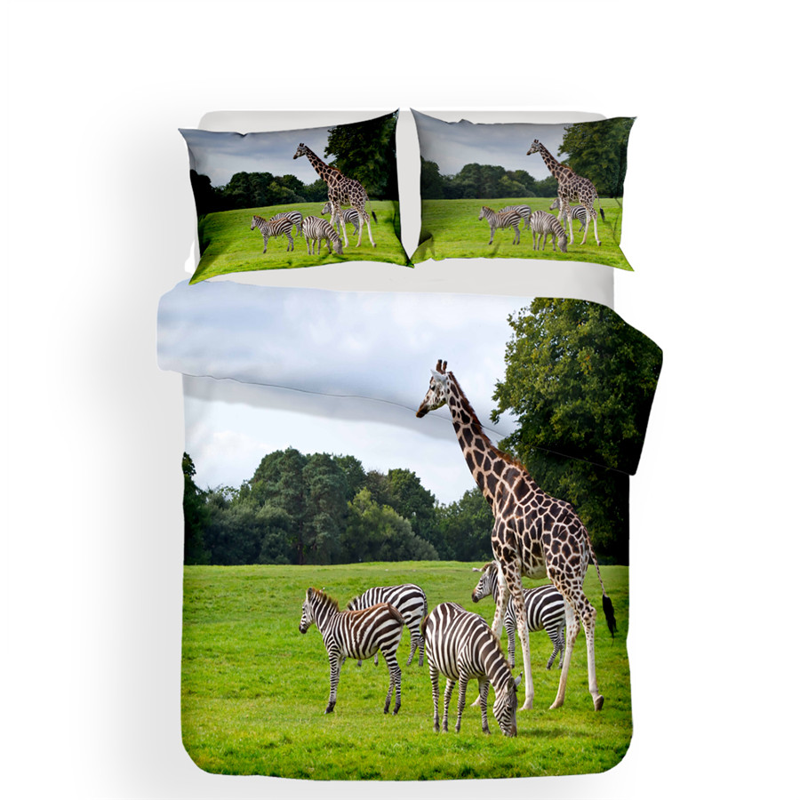 Image 2 - Bedding Set 3D Printed Duvet Cover Bed Set Giraffe Animal Home Textiles for Adults Lifelike Bedclothes with Pillowcase #CJL18-in Bedding Sets from Home & Garden