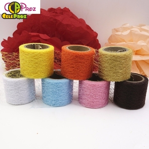 2inch 10Yards Spiderweb Net Tulle Mesh Fabric Roll Big hole Tulle for Tutu Skirt Poms Flower Wrap Packing DIY handmade articles(China)