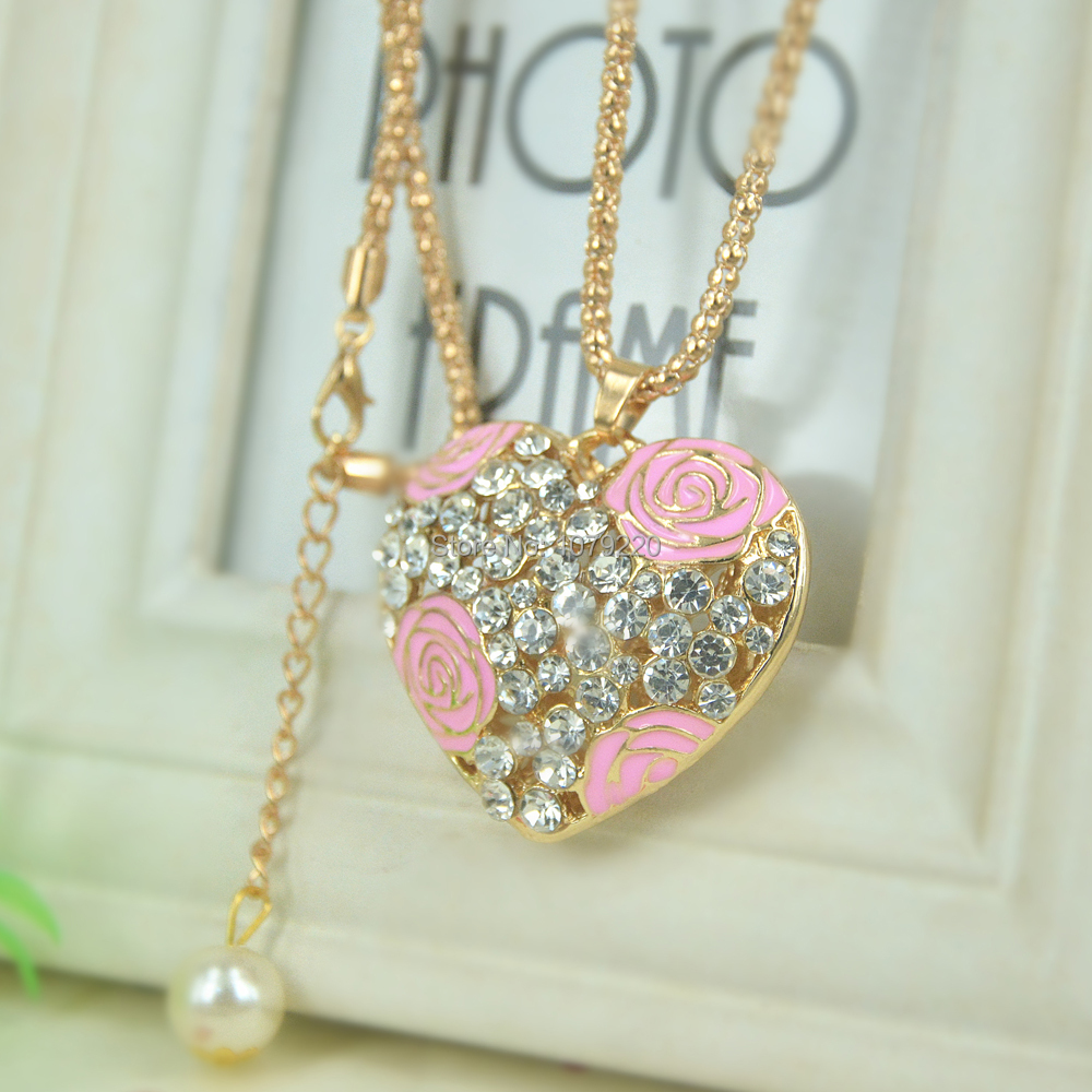 Fashion Jewelry Crystal Necklace For Women Big Heart D Long Necklace Pendants Rhinestone Chain Party Lover Gift