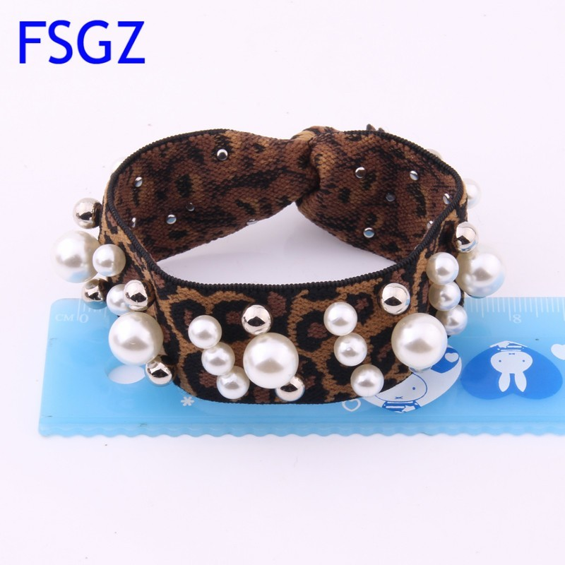 Newest Leopard Rubber Band For Women Pearls Hair Tie For Lady Fashion Strip Elastic Hair Bands Ponytail Holder Hair Accessories