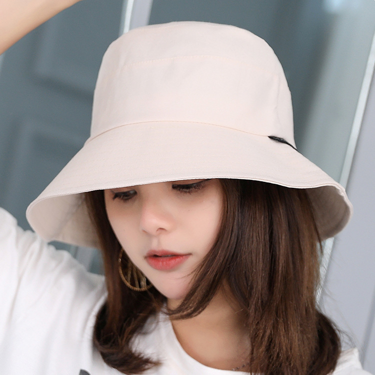 New Pattern New Female Cotton Wide Brim Foldable Sun Hat Women Solid Color Anti-UV Beach Hats Unisex Bucket Hat Summer Hat