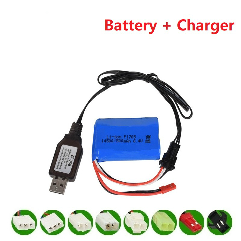 14500 500mah 6.4v Li-ion Battery For Wltoys 18401/18402 Remote Control Off-road Vehicle 6.4v Charger For RC Toys Car Boat Turcks