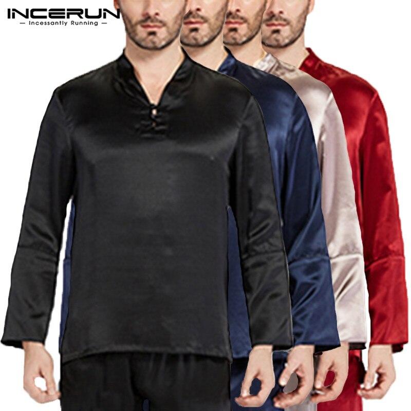 Comfortable Satin Silk Mens Pajama Tee Long Sleeve Pullovers Tops Sleepwear Homewear Pyajama Loose Soft 5XL Autumn Mens Clothing