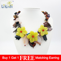 Natural Mix stone and Korea Jade Flowers with Jade Toggle Clasp Necklace Fashion Women Jewelry