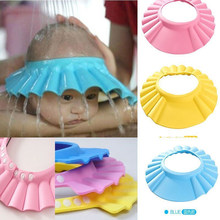 Adjustable Baby Kids Shampoo Bath Bathing Shower Cap Hat Wash Hair Shield Cute Hot Solid Color Baby Accessories Shampoo Cap(China)