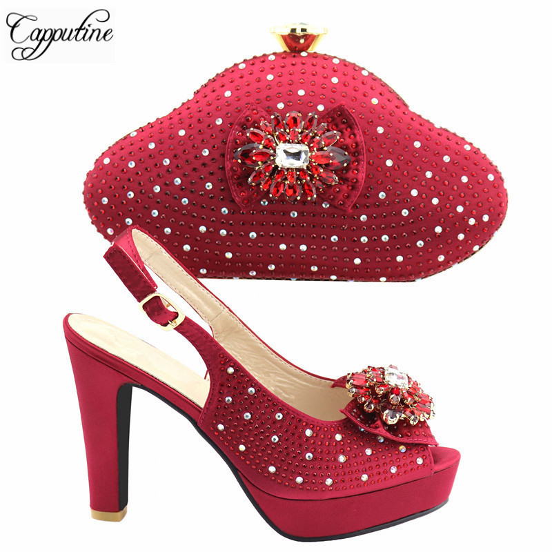 Wine Color Shoes And Bag Set Decorated With Rhinestone High Quality Italian  Shoes With Matching Bags For Women Party TX-199 da07e6633ec9