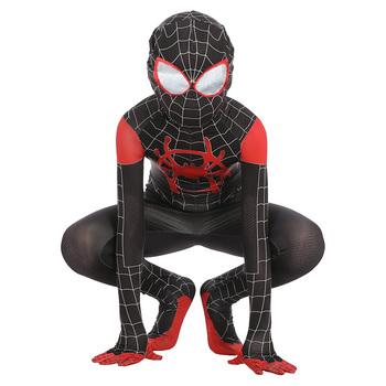 Spider Boy w Spider-Verse miles morales przebranie na karnawał Zentai body kombinezon kombinezon kostium na halloween dla dzieci tanie i dobre opinie Zestawy Film i TELEWIZJA Unisex Other Jumpsuit Mask BK029 Kostiumy