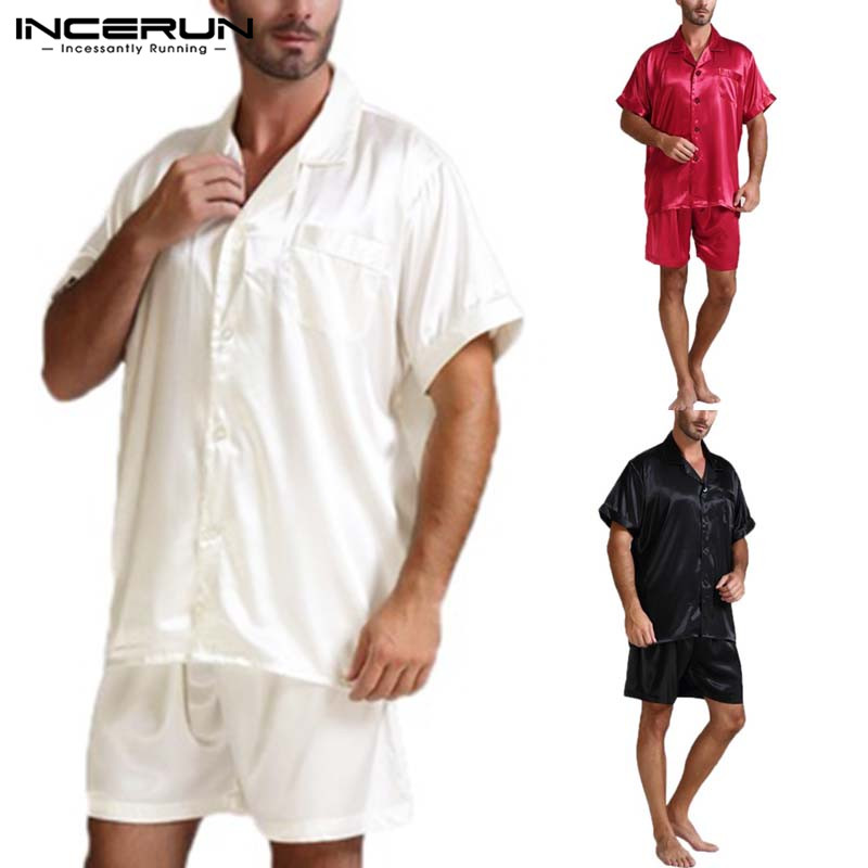 Sleepwear Sets Shorts Pajama-Suits Silk Plus-Size Summer 5XL Soft Tops Men Fashion