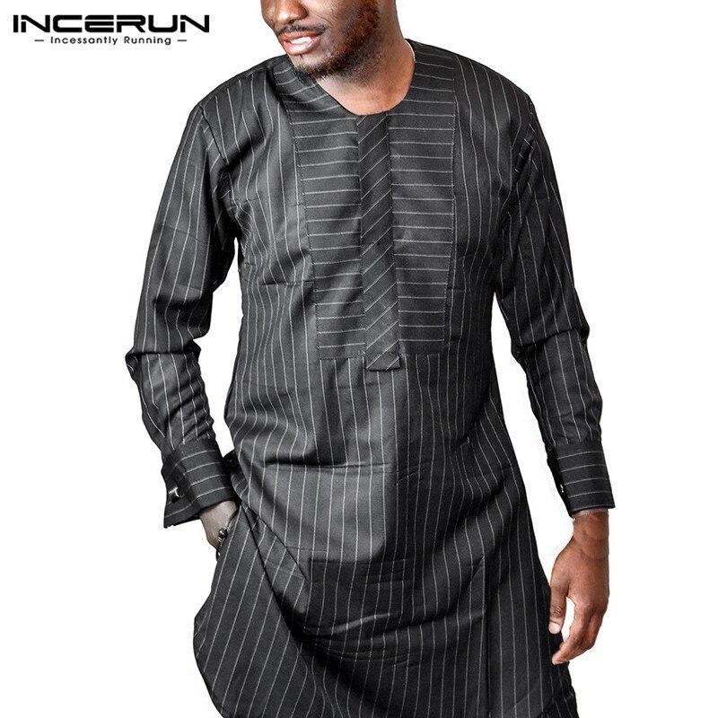 INCERUN Männer Striped Lange Hemd Afrikanische Kleidung Kaftan Oansatz Langarm Casual Tops Männer Dashiki Afrikanische Kleidung Hombre Plus Größe