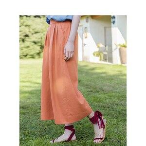 Image 3 - INMAN Summer Solid Elastic Waist Fold Slim Comfortable Minimalism All Matched Literary Women Loose Pants