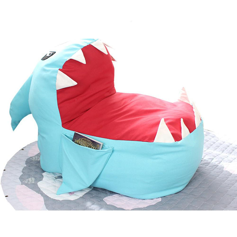 Large Capacity Cartoon Shark Shape Bean Bag For Kids Toys Clothes Storage Shark Children Plush Toy Storage Bag Lazy Couch Chair