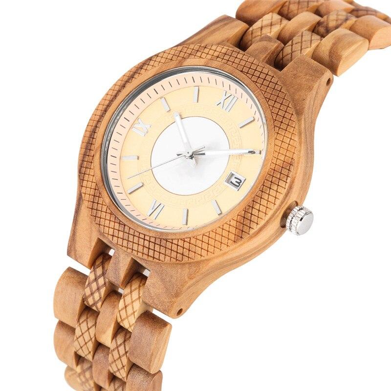 Classic Quartz Watch Movement For Women Men Practical Luminous Function Wooden Watches Elegant Calendar Wooden Wristwach