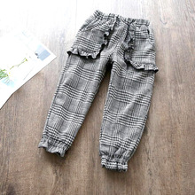hot deal buy 2019 winter new children's clothing plaid plus velvet thick casual pants wear warm baby pants 2-7 years