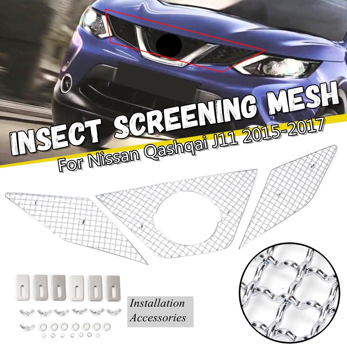 3Pcs/Set Car Stainless Steel Front Bumper Grill Vent Grille Insect Screening Mesh Net For Nissan Qashqai J11 2015-20173Pcs/Set Car Stainless Steel Front Bumper Grill Vent Grille Insect Screening Mesh Net For Nissan Qashqai J11 2015-2017