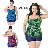 2019 New large size conservative boxer one piece sports swimwear women big cup beach holiday ladies swimsuit with shorts