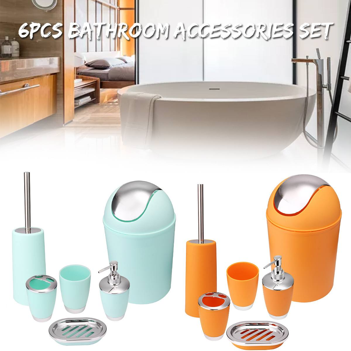 6pcs/set Bathroom Accessory Sets Lotion Dispenser Toothbrush Holder Tumbler Cup Soap Dish Toilet Brush Trash Can Home Decor6pcs/set Bathroom Accessory Sets Lotion Dispenser Toothbrush Holder Tumbler Cup Soap Dish Toilet Brush Trash Can Home Decor
