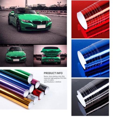 Cool Car Glossy Mirror Chrome Vinyl Wrap Film Foil Sticker Sheet Bubble Free