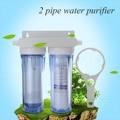 Домашний очиститель воды 10 дюймов двойной 4 порта фильтр для воды двойной прозрачный PP Хлопок + фильтр с активированным углем настенный тип ...
