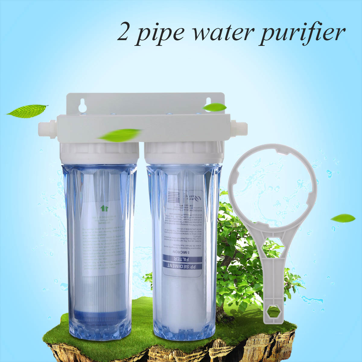 Home Water Purifier 10 Inch Dual 4 Port Water Filter Double Transparent PP Cotton + Activated Carbon Filter Wall Mounting Type