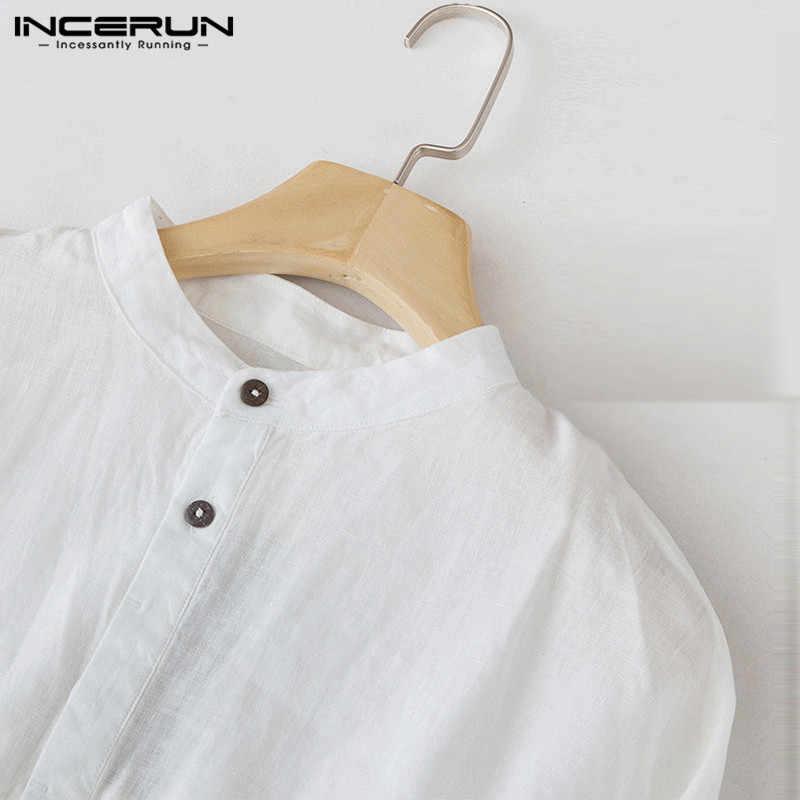 INCERUN カジュアル男性シャツ 3/4 スリーブスタンドリネンだぶだぶ男性トップスブラウスソリッドカラー綿レジャーヴィンテージシャツ男性プラスサイズ