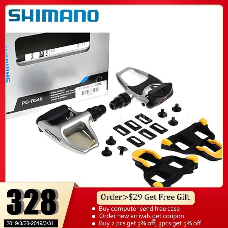 SHIMANO PD-R540 Chrome-moly et En Aluminium Vélo De Route Vélo Vélo Large pédales de plate-forme Comprennent SPD SL SM-SH11 Auto-verrouillage crampons