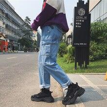 2018 Mens Fashion Casual Blue Cowboy Pants Stretch Loose Multi Pocket Jeans men Baggy Biker Denim Trousers S-2XL